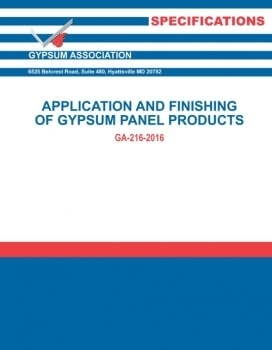 Application and Finishing of Gypsum Panel Products